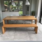Opmaat  tafel en bank bamboe Arc